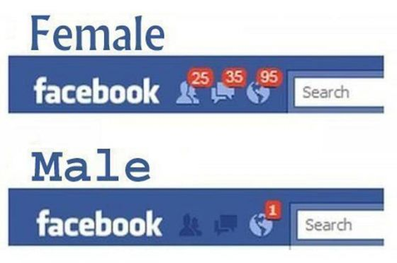 無誤......男生與女生FB介面的差別---female male facebook